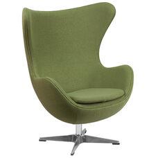 Grass Green Wool Fabric Egg Chair with Tilt-Lock Mechanism
