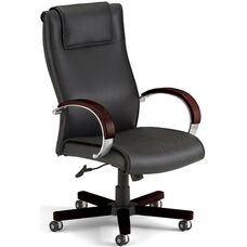 Apex Leather Executive High-Back Chair with Mahogany Finish - Black