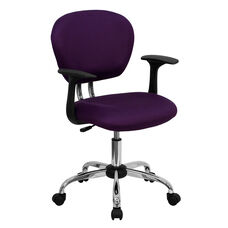 Mid-Back Purple Mesh Padded Swivel Task Office Chair with Chrome Base and Arms
