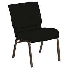 Embroidered 21''W Church Chair in Mirage Pewter Fabric - Gold Vein Frame