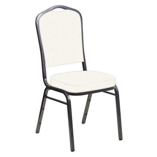 Our Embroidered E-Z Marine White Vinyl Upholstered Crown Back Banquet Chair - Silver Vein Frame is on sale now.