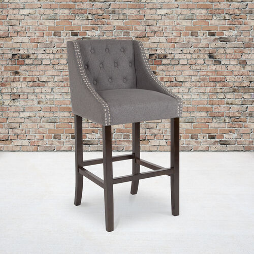 """Carmel Series 30"""" High Transitional Tufted Walnut Barstool with Accent Nail Trim in Dark Gray Fabric"""