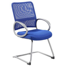 Mesh Back with Pewter Finish Guest Chair with Loop Arms - Blue