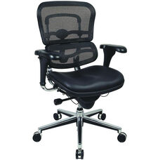 Ergohuman Series Mid Back 26.5'' W x 29'' D x 39.5'' H Adjustable Height Executive Chair - Black Leather and Mesh
