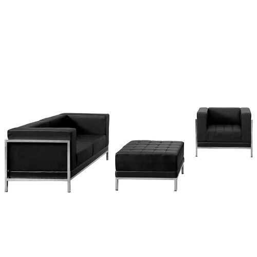 Our HERCULES Imagination Series Black Leather Loveseat, Chair & Ottoman Set is on sale now.