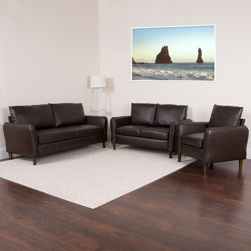 Milton Park Upholstered Plush Pillow Back Chair, Loveseat and Sofa Set in Brown LeatherSoft