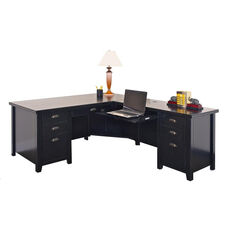 kathy ireland Home™ Tribeca Loft Collection L Shaped Workstation with Right Return - Midnight Smoke Black