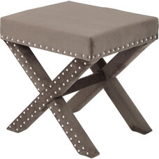 OSP Accents Katie Bench with Silver Nail Heads - Otter Micro Velvet