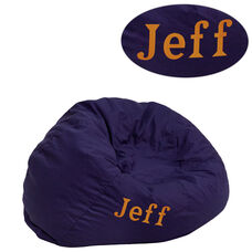 Personalized Small Solid Navy Blue Kids Bean Bag Chair