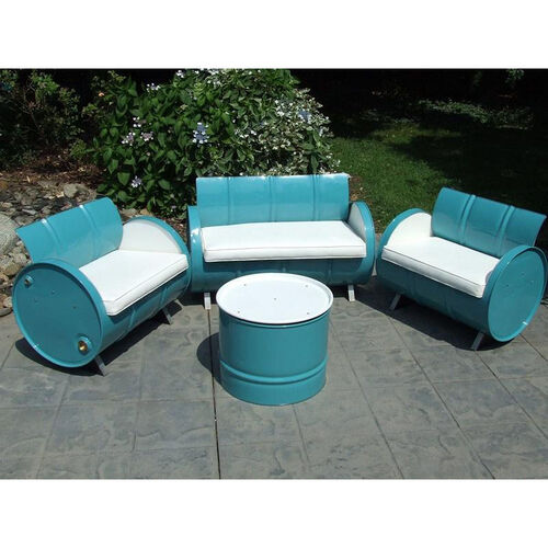 Del Ray Steel Drum 4 Piece Conversation Set with White Accents