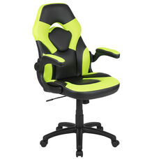 High Back Racing Style Ergonomic Gaming Chair with Flip-Up Arms, Neon Green/Black LeatherSoft