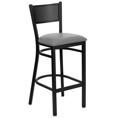 Our Black Grid Back Metal Restaurant Barstool with Custom Upholstered Seat is on sale now.