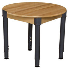Solid Birch Hardwood Round Table with Heavy Duty Adjustable Legs - 30