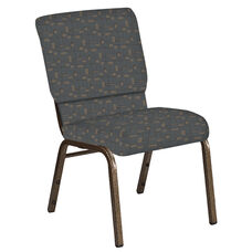 18.5''W Church Chair in Circuit Teal Fabric - Gold Vein Frame