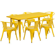 """Commercial Grade 31.5"""" x 63"""" Rectangular Yellow Metal Indoor-Outdoor Table Set with 6 Arm Chairs"""