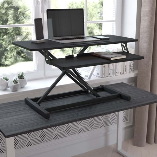 Adjustable Height Desk Riser with Keyboard Tray; Sit to Stand Workstation-Dual Monitor/Laptop-Tablet/Phone Slot