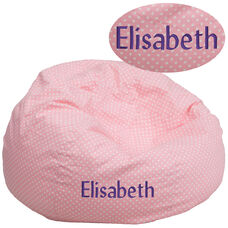 Personalized Oversized Light Pink Dot Bean Bag Chair for Kids and Adults