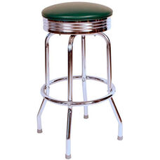 Retro Style Backless 24''H Swivel Bar Stool with Chrome Frame and Padded Seat - Green Vinyl