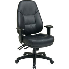 Work Smart Executive High Back Ergonomic Office Chair with Lumbar Support and Adjustable Arms - Black