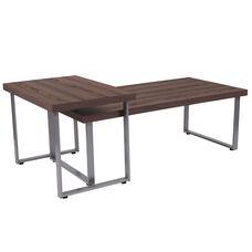 Roslindale Rustic Wood Grain Finish Coffee Table with Silver Metal Legs