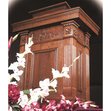 Stained Red Oak Tiered Pulpit with Decorative Accents and Fixed Lid
