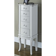 Jewelry Armoire - White with Pink Lining