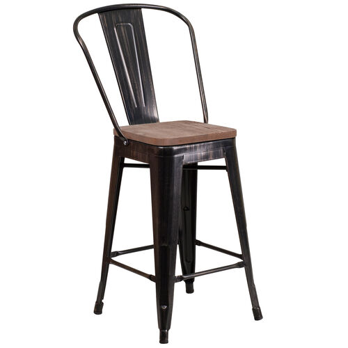 "Our 24"" High Black-Antique Gold Metal Counter Height Stool with Back and Wood Seat is on sale now."