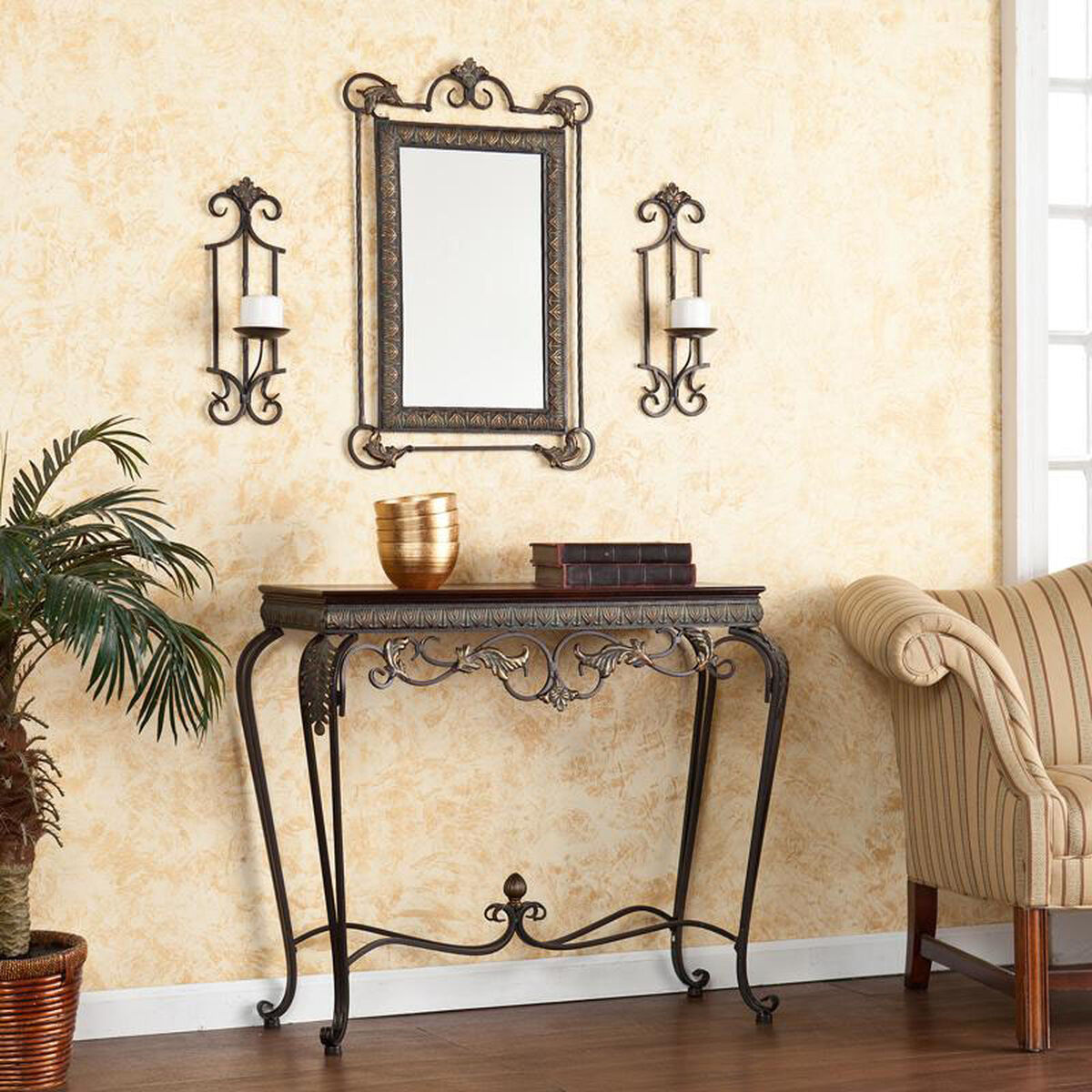 Our Capshaw Aged Bronze Patina Finish Metal 4 Piece Sconce And Wall Mirror Set Including Console