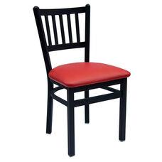 Troy Metal Slat Back Chair - Red Vinyl Seat