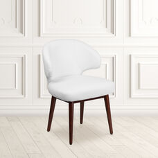 Comfort Back Series White LeatherSoft Side Reception Chair with Walnut Legs