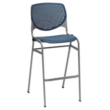 2300 KOOL Series Stacking Poly Armless Barstool with Perforated Back and Silver Frame - Navy