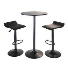 Obsidian 3-Pc Round Pub Table Set with 2 Airlift Stools in Black