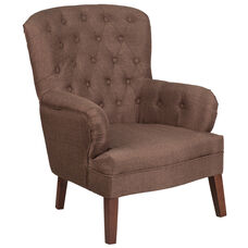 HERCULES Arkley Series Brown Fabric Tufted Arm Chair