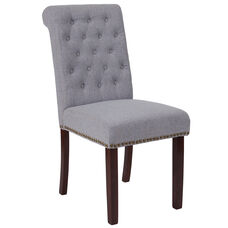 HERCULES Series Light Gray Fabric Parsons Chair with Rolled Back, Nail Head Trim and Walnut Finish