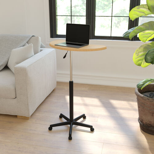 Maple Sit to Stand Mobile Laptop Computer Desk