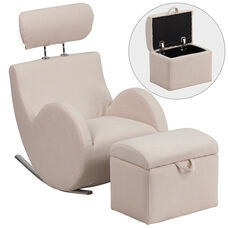 HERCULES Series Beige Fabric Rocking Chair with Storage Ottoman
