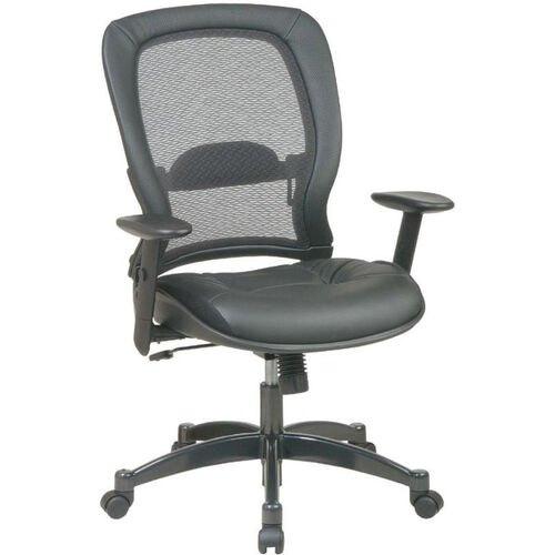 Quick Ship NexStep Black Leather Executive Chair with Mesh Back
