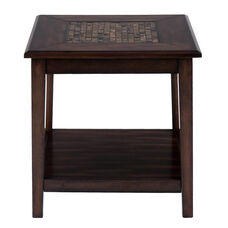 Baroque Brown End Table with Mosaic Tile Inlay and Shelf