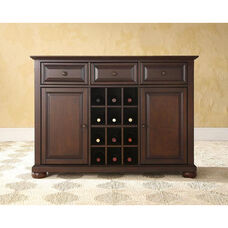 Buffet Server and Sideboard Cabinet with Wine Storage with Alexandria Style Feet - Vintage Mahogany Finish