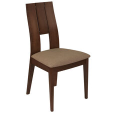 Emerson Walnut Finish Wood Dining Chair with Curved Slat Keyhole Back and Magnolia Brown Fabric Seat