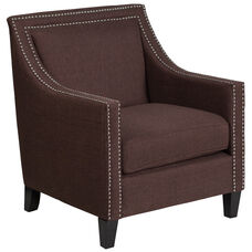 HERCULES Compass Series Transitional Brown Fabric Chair with Walnut Legs