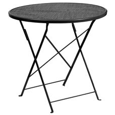 "Commercial Grade 30"" Round Black Indoor-Outdoor Steel Folding Patio Table"