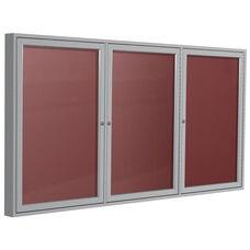 3-Door Satin Aluminum Frame Outdoor Vinyl Enclosure Letterboard - Burgundy