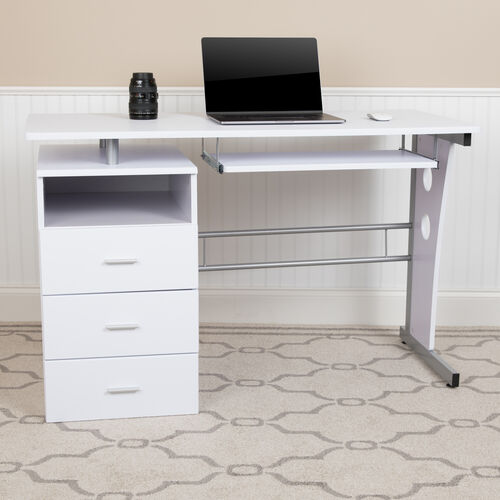 White Desk with Three Drawer Pedestal and Pull-Out Keyboard Tray