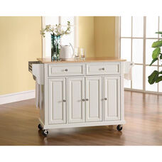 Natural Wood Top Kitchen Island Cart with Cabinets - White Finish