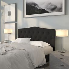 Cambridge Tufted Upholstered Queen Size Headboard in Black Fabric