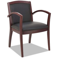 Alera® Reception Lounge 500 Series Arch Back Solid Mahogany Wood Frame Arm Chair - Black Leather