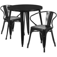 "Commercial Grade 30"" Round Black Metal Indoor-Outdoor Table Set with 2 Arm Chairs"