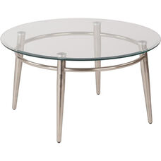 Ave Six Clear Tempered Glass Top Round Coffee Table - Nickel