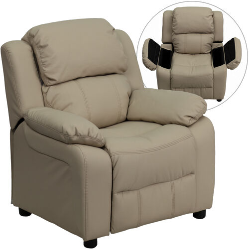 Our Deluxe Padded Contemporary Beige Vinyl Kids Recliner with Storage Arms is on sale now.
